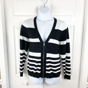 Black & White Striped V Neck Zip Up Cardigan